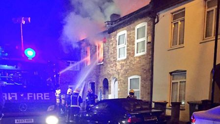 Firefighters tackle the blaze in Field Road, Forest Gate. Picture: London Ambulance Service
