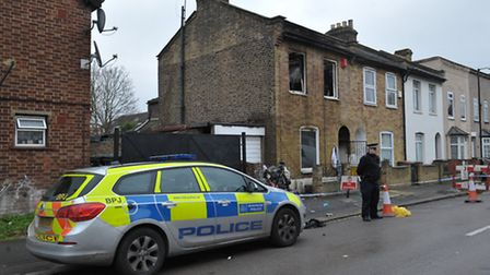Police at the scene of the fire in Field Road
