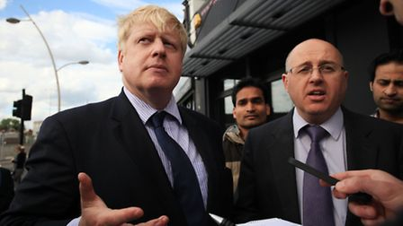 Boris Johnson, Mayor of London, and Redbridge Conservative leader Keith Prince talk to the press at