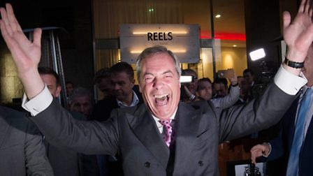 UKIP Leader Nigel Farage speaking in London where he appeared to claim victory for the Leave campaig