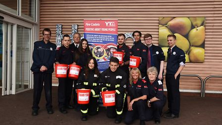 Firefighter cadets from across Havering collecting for charity at Tesco Extra at Gallows Corner