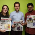 Laura Burnip, Ralph Blackburn and Ajay Nair who are the Ilford Recorder Team