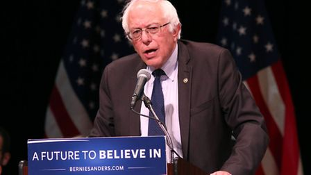 Bernie Sanders speaks during a rally at Town Hall in New York. (Pictures PA)