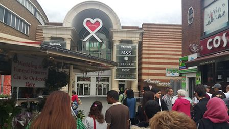 The scene outside the Exchange shopping centre, in Ilford, after it was evacuated over a false bomb