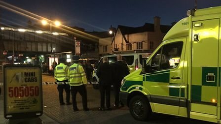 Ambulances and police in South Street in the early hours of Saturday morning. Photo: MPS Specials
