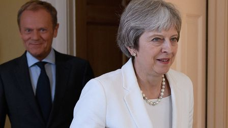 Prime minister Theresa May with president of the European Council Donald Tusk Photo: PA / Leon Nea
