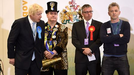Boris Johnson stands with Lord Toby Jug Picture: PA/Andrew Matthews