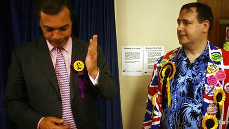 Nigel Farage chats with Lord Toby Jug Picture: PA/Chris Young