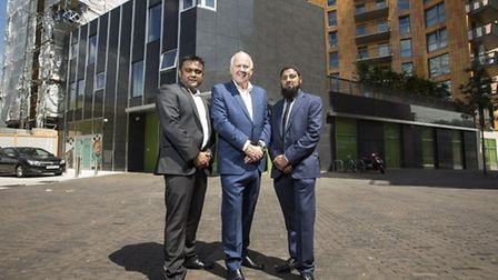 L-R: Cllr Forhad Hussain, Cllr Ken Clark and Cllr Idris Ibrahim in front of the new building. Pictur