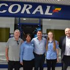 Ex West Ham footballer Tony Cottee launches the new Coral betting shop in the Libertyy Centre. L to