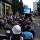 Families enjoying the outdoor cinema in High Road, Ilford, last year.