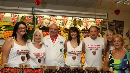 Manager of Fruit and Vegtable store A&C Fruiterers, Alan Neat celebrates 45 years of working at the