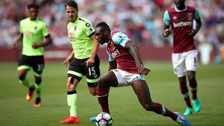 West Ham's Michail Antonio in action during the Premier League match at the London Stadium, London.