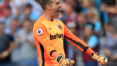 West Ham United goalkeeper Adrian celebrates his sides first goal of the game scored by West Ham Uni