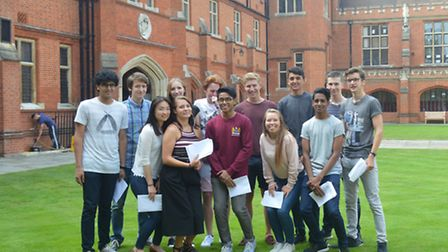 Bancroft's students who got straight A*s celebrating A-level results success.