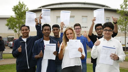 Students at Brampton Manor Academy celebrate their excellent GCSE results last year. (Picture: Sandr