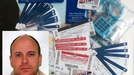 Tout David Spanton, inset, with some of the tickets, memberships and credit cards police recovered.
