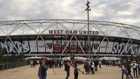 Fans gathering at the London Stadium ready for West Ham Europa League qualifier