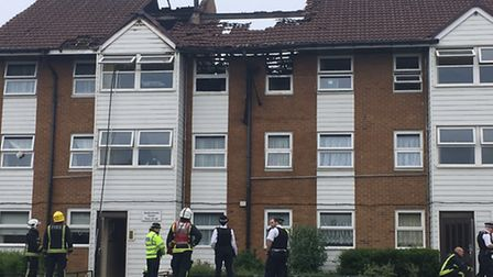 Firefighters tackled a blaze at a block of flats in Myrtle Road, Harold Hill. Picture: Matthew Cleme