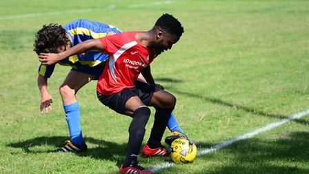 Action from the FA Cup tie between London Bari and Clapton (pic: Tim Edwards)