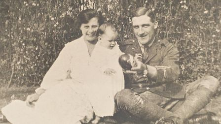 Capt Charlie May, who was killed at the Battle of the Somme, photographed with his wife Maude and da
