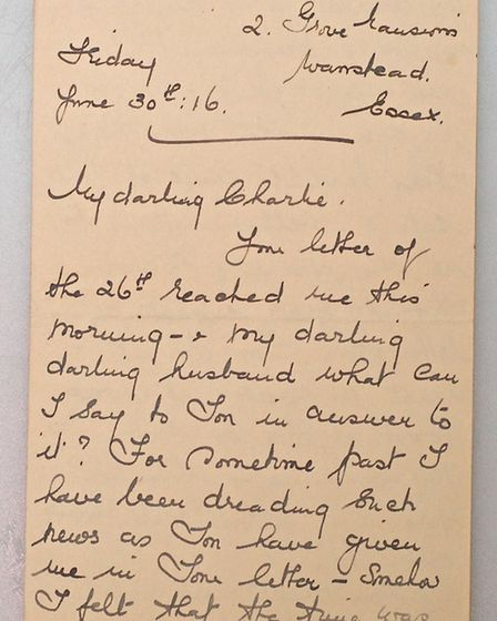A letter written by Maude May to her husband Charlie, who was killed at the Battle of the Somme. Pic