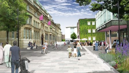 A computer generated image of the new town centre regeneration from Clements Road, looking at High R