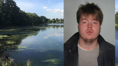 Terry McBride, inset, tried to rape a woman by the lake in Valentines Park, Ilford, on Valentine's D