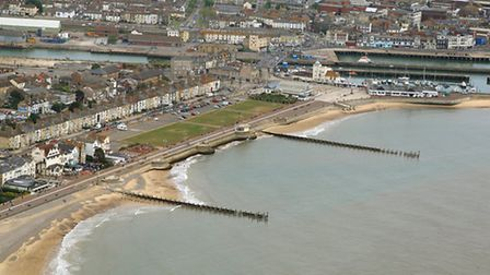 SHIFTING SANDS: The erosion to Lowestoft's South Beach is clear to see in this aerial picture taken