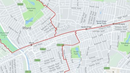 How the Ilford South constituency will look under the new Boundary Commission proposals. Three wards