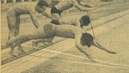 Swimmers using the lido in Valentines Park in the 1930s.