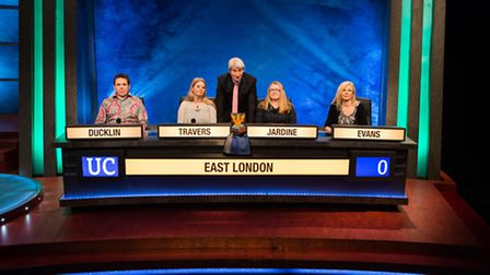 The UEL team with host Jeremy Paxman on University Challenge