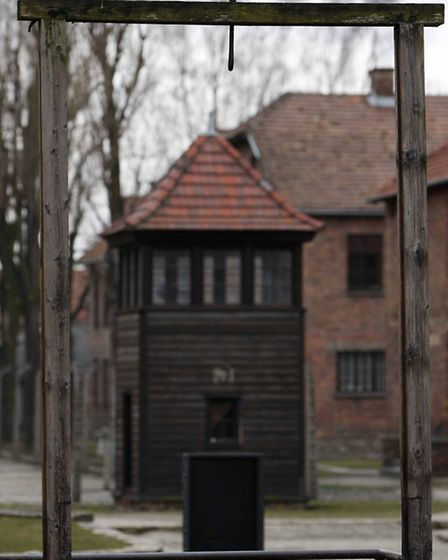 A general view of the gallows at Auschwitz I camp. The gallows were built in 1947 to hang SS-Oberstu