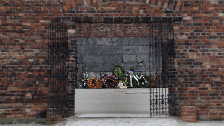 A general view of the 'Death Wall' where prisoners were shot at Auschwitz I camp. Picture: Dave Thom