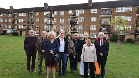 Cllr Linda Huggett with residents of Broomhill Court who are concerned about anti social behaviour i