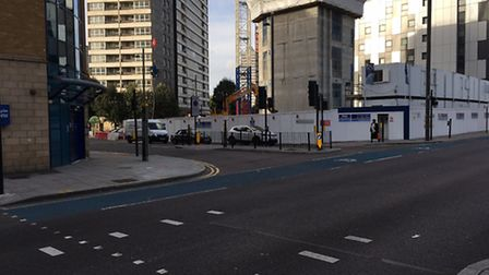 The junction of Carpenters Road and Stratford High Street, where a baby was found unresponsive on a