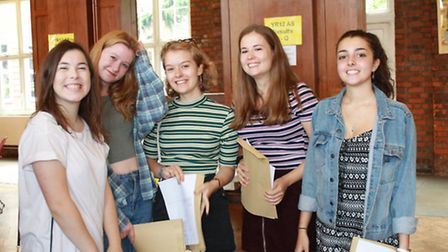 Students celebrating their A-level exam results at Wanstead High School. From right to left: Ciara A