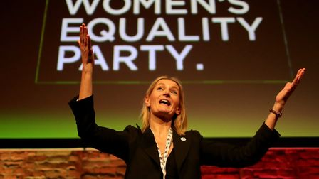 MANCHESTER, ENGLAND - NOVEMBER 26: Sophie Walker, leader of the Women's Equality Party appluads del