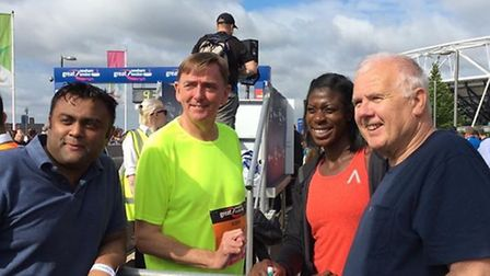 Christine Ohuruogu with Sir Robin Wales and Cllrs Forhad Hussain and Ken Clark at the Great Newham L