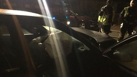 The force of the crash resulted in the airbag being deployed in the car that caused the smash. Pictu
