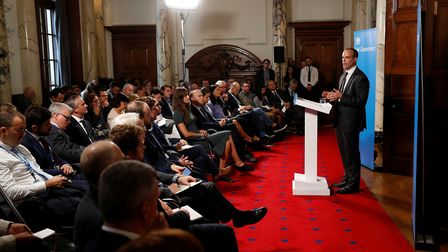 Brexit Secretary Dominic Raab delivers a speech on preparations for a no deal Brexit. Photograph: Pe