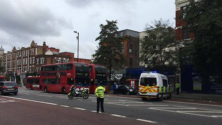 A man was arrested on suspicion of terror offences in Holloway Road this afternoon. It appeared he w