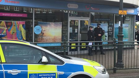 Police were called after reports of an incident at the Thomson travel agency in Upminster on Friday
