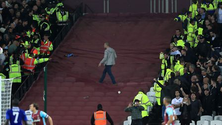 A Chelsea fan taunts West Ham United fans at London Stadium. Picture: Empics