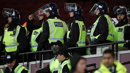 Riot police had to intervene inside the London Stadium for the first time at the Chelsea V West Ham