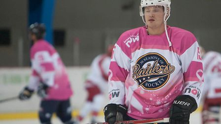 JJ Pitchley in a pink shirt for Raiders