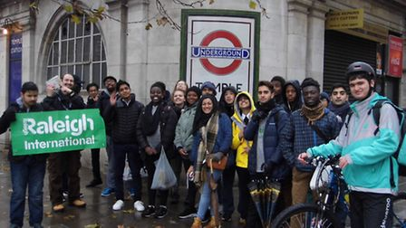Newham Sixth Form College students doing the Circle Line walk challenge
