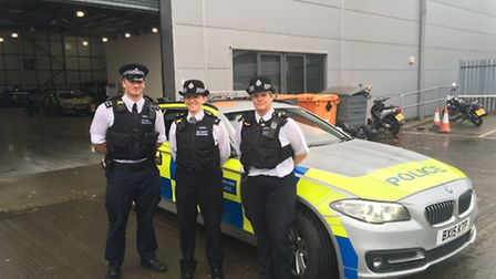 Pc Steven Nunn, Insp Claire McCarthy and Pc Sarah McKenzie of Havering Police with bodycams attached