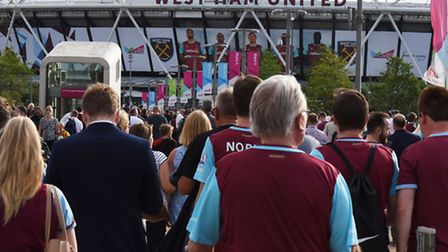 West Ham fans descend on the Olympic Stadium in Stratford for their first home game