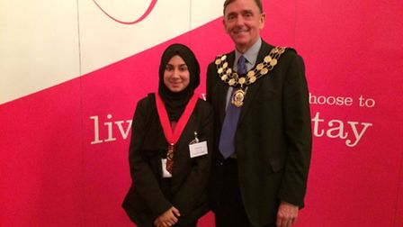 Khadija Sethi, with Sir Robin Wales, is elected as the new Young Mayor of Newham